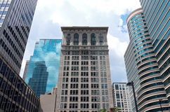 Historic Architecture and Glass Skyscrapers Stock Photo
