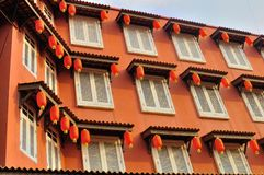 Historic architecture at the Jonker street. Close up shot of some colorful historic architecture - Traditional windows of shop houses in the Jonker street Royalty Free Stock Photos