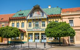Historic architecture in the main square of Skalica. The building of the Zahorske Museum stock photos