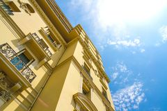 Historic architecture of Monaco on a sunny day stock photos