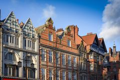 Historic Architecture in Nottingham,UK. 19th March 2018:UK Weather,after a cold Spring day late sunshine illuminates Nottingham city old architecture building Stock Images