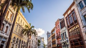 Recife in Brazil. The historic architecture of Recife in Pernambuco, Brazil at sunset stock image
