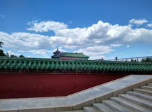 Historic architecture under pure blue sky and white cloud Stock Photos