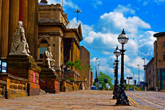 Historic architecture in William Brown St Liverpool UK. View of William Brown Street Liverpool UK Royalty Free Stock Photography