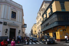 Historic area in Lima, Peru stock photo