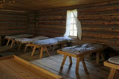Historic Army Barracks. Interior of army barracks on a historical site in British Columbia Stock Photography