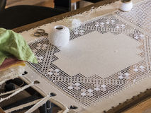 Historic art stitching, embroidery. Stock Photo