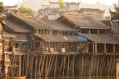 Historic Asian Village. Wooden Houses Above the Water. Trasitional Chinese Architecture Wood Buildings Stock Photography