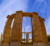 Historic astronomical instrument Rama Yantra a double cylinder. Instrument that measures azimuth and altitudes of celestial bodies at Jantar Mantar, Jaipur Stock Photography