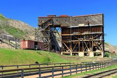 Atlas Coal Mine National Historic Site near Drumheller, Alberta. The historic Atlas Coal Mine near East Coulee, south of Drumheller along the Red Deer River is royalty free stock photos