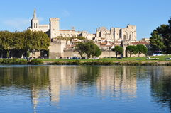 Historic Avignon, France. A view of historic Avignon, France on the Rhone River. The old part of the city is completely surrounded by medieval walls that were Royalty Free Stock Photography