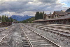 Historic Banff Train Station - Banff, Alberta, Canada Stock Images