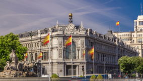Historic Bank of Spain building timelapse hyperlapse and Cibeles square between Paseo del Prado and Alcala street in stock footage