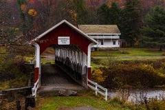 Historic Barronvale Covered Bridge - Autumn Splendor - Somerset County, Pennsylvania. An autumn view of the historic Barronvale Burr arch truss covered bridge in Royalty Free Stock Photography