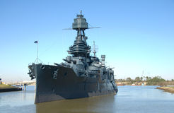 Historic Battleship. Texas in Buffaloe Bayou, Houston, Texas stock photography