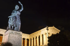 Historic Bavaria statue in Munich. At night royalty free stock photo