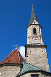 Historic Bavarian church steeple. Against blue sky Stock Photo