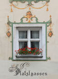 Historic bavarian window, framed with mural painting Stock Photography