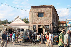 Historic Bazaar and shopping area at Cunda Island Stock Photo