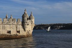 Detail Belem Tower in Portugal Stock Images