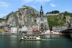 Historic Belgian town Dinant in summer stock photography