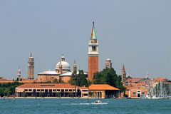 Historic Bell Tower of the Church of San Giorgio near Venice Stock Images