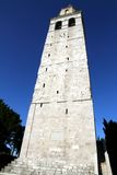 Historic Bell Tower of the town of AQUILEIA seen from below and Royalty Free Stock Images