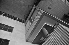 Historic Berlin Tempelhof Airport. Abandoned Flughafen Tempelhof: Boarding Area Roof and Stairwell Architectural features (B&W Royalty Free Stock Photos