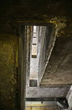 Historic Berlin Tempelhof Airport. Abandoned Flughafen Tempelhof: Unfinished Basement Stairwell (Portrait Mode Stock Image