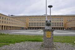Historic Berlin Tempelhof Airport: Eagle Square. Flughafen Tempelhof Central Square, with the head of the former Nazi 'Reichsadler Royalty Free Stock Image