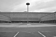 Historic Berlin Tempelhof Airport. Flughafen Tempelhof Entrance and Parking Square (B&W Royalty Free Stock Image