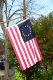 Historic Betsy Ross Flag. Flying on staff Royalty Free Stock Images
