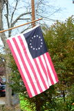 Historic Betsy Ross Flag. Flying on staff Stock Images