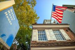 The historic Betsy Ross house. PHILADELPHIA - OCT 19: The historic Betsy Ross house tourism landmark with hanging American flag in Old City Philadelphia  on Stock Photos