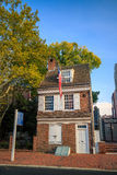 The historic Betsy Ross house. PHILADELPHIA - OCT 19: The historic Betsy Ross house tourism landmark with hanging American flag in Old City Philadelphia  on Royalty Free Stock Photo