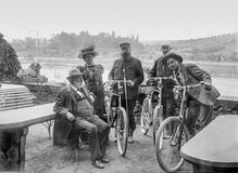 Historic bicycle trip Royalty Free Stock Image