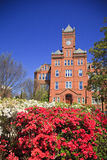 Historic Biddle Hall at Johnson C. Smith. Biddle Memorial Hall at Johnson C. Smith University in Charlotte, NC with azaleas in bloom stock images