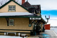 Historic train station, Big Valley, Alberta, Canada. Historic big valley train station stands the test of time Stock Image