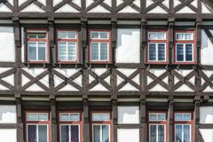 Historic black and white half timbered house Stock Images