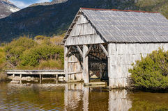 Historic boat shed at lake Dove on sunny day Royalty Free Stock Photo