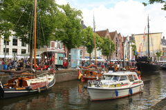 Historic boats in Groningen.The Netherlands Royalty Free Stock Photo