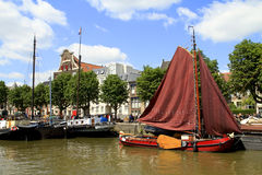 Historic boats in Wolwevershaven harbor Stock Photography