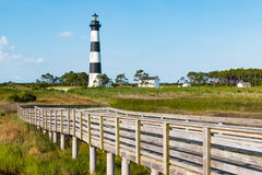 Historic Bodie Island Lighthouse and Wooden Ramp. Historic Bodie Island lighthouse, surrounding buildings and wooden walkway to observation point. It is located stock photo