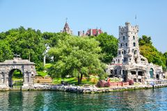 Historic Boldt Castle in 1000 Islands of New York. ALEXANDRIA, USA - August 24, 2012: Historic Boldt Castle in the 1000 Islands region of New York State on Heart royalty free stock photography