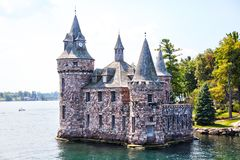 Historic Boldt Castle in 1000 Islands of New York. Historic Boldt Castle in the 1000 Islands region of New York State on Heart Island in St. Lawrence River. In stock photography