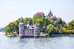 Historic Boldt Castle in 1000 Islands of New York. Historic Boldt Castle in the 1000 Islands region of New York State on Heart Island in St. Lawrence River. In royalty free stock photos