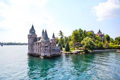 Historic Boldt Castle in 1000 Islands of New York. Historic Boldt Castle in the 1000 Islands region of New York State on Heart Island in St. Lawrence River. In stock image