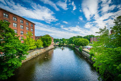 Historic brick buildings and the Cocheco River, in Dover, New Ha. Mpshire stock photos