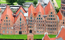 Historic brick buildings on the Upper Trave River, Lubeck, Germany Stock Photo