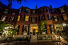 Historic brick homes in Beacon Hill at night, in Boston, Massach Royalty Free Stock Photos